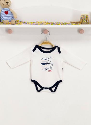 U.S. Polo Assn. Lisanslı Krem Bebek Body Zıbın Krem